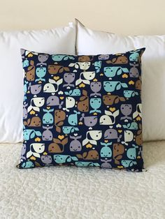 Preppy Whales Pillow Cover  Swappillow Covers  by KathyRyanDesigns