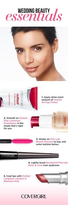 Try this easy, breezy way to be wedding ready with makeup that will literally outlast the celebrations and the summer heat. Begin with Outlast All-Day Primer, and then apply Stay Luminous Foundation for the best lasting coverage with a natural glow. Brush on Lash Bloom Mascara to top, and outer bottom lashes for a full and soft look. Next, add some definition to your eyebrows with Bombshell Pow-der Brow & Liner. Finally, get all day lip color with Outlast Longwear Lipstick in Phantom Pink.