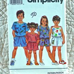 8443 SIMPLICITY Uncut PATTERN 1993 Girls Boys Elastic Waist Shorts Pullover Top Sleeveless or Short Sleeves Size 2 3 4 or 5 6 6x 3-oz