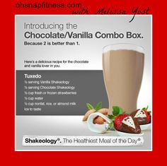 For you chocolate and vanilla Shakeology lovers! Vanilla Shakeology, Chocolate Shakeology, Fruit Smoothies, Smoothie Recipes, Shake Recipes, Healthy Meal Replacement Shakes, Healthy Drinks, Healthy Recipes, 21dayfix Recipes