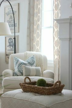 Reading/feeding chair in the corner. This style of lamp looks ...