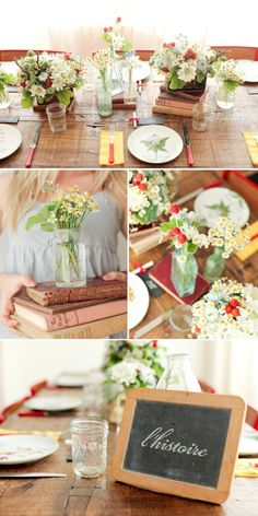 Books, tins, and flowers : a lovely light-hearted table design