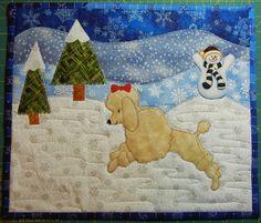 Apricot Poodle bouncing in the snow applique quilt square. Snowman.