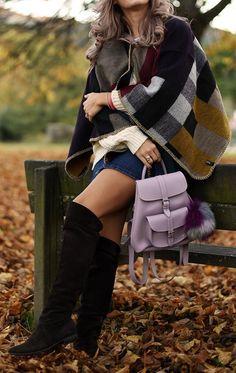 #fall #outfit #ideas ·  Printed Cap // Denim Skirt // Velvet Over The Knee Boots