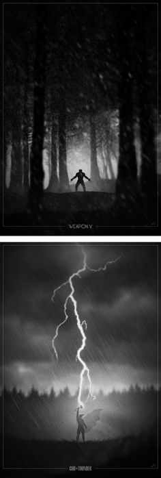 Wolverine, Thor Superhero Noir Posters by Marko Manev #MarvelComics #ComicBooks #ComicArt
