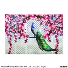 Peacock Cherry Blossoms And Lattice Cloth Placemat - This place mat features a peacock perching on a cherry blossom branch in front of a lattice wall.