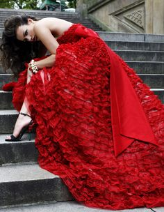 Beautiful red lace gown.