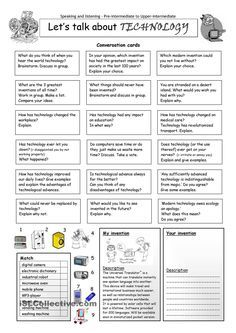 This worksheet contains 18 conversation cards, a matching exercise with pictures and a creative thinking and writing exercise. The cards can be cut out if desired. English Vocabulary, English Grammar, Teaching English, English Language, English Talk, Learn English, Esl Lessons, English Lessons, Ingles Kids