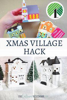 Dollar Tree Christmas Village Hack - The Latina Next Door