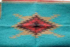 Turquoise Aztec / Navajo Geometric Rug / Saddle by HomeAgainShop Saddle Blanket, Navajo Rugs, Geometric Rug, Show Horses, Red Rugs, Aztec Rug, Shag Rug, Gypsy Trailer, Weaving