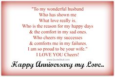 Happy anniversary quotes for husband from wife