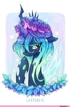 Floral Chrysalis by Jopiter on DeviantArt Dessin My Little Pony, My Little Pony Drawing, Mlp My Little Pony, My Little Pony Friendship, Equestria Girls, Raimbow Dash, Queen Chrysalis, My Little Pony Wallpaper, Little Poni