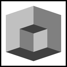 do you see a cube in a room or and cube with another cube cut out of it?