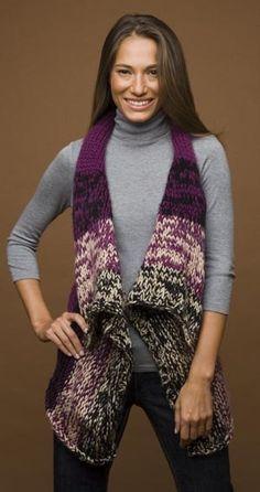 Free Knitting Pattern 60559 Rectangle Vest : Lion Brand Yarn Company