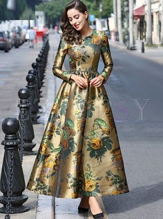 Cheap long dress plus size, Buy Quality maxi dress women directly from China designer maxi dress Suppliers: HIGH QUALITY Newest 2017 Designer Maxi Dress Women's Long Sleeve Gorgeous Floral Jacquard Long Dress plus size Modelos Fashion, Maxi Robes, Maxi Dress With Sleeves, Pakistani Dresses, Fashion Dresses, Maxi Dresses, Cheap Dresses, Wedding Dresses, Plus Size Dresses