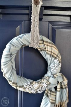 An easy winter wreath that took 5 minutes to make -- use an old scarf or find a cheap one from the thrift store!