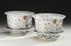 TWO DAYAZHAI GRISAILLE-DECORATED JARDINIERES AND UNDERDISHES QING DYNASTY, TONGZHI / GUANGXU PERIOD - Sotheby's