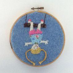 Little girl upside down on a swing hoop art by Annablossoms, $12.00