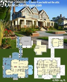 The porch wraps around Architectural Designs Luxury House Plan 23660JD. Get over 4,700 square feet of living and up to 3 floors if you build out the attic with Over 50 photos online. Ready when you are. Where do YOU want to build?