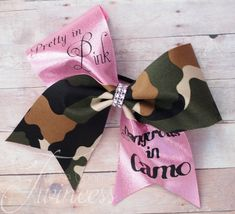 Cheer Bow Pretty In Pink Dangerous in Camo by OnceUponATwincess