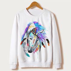 d460d77cf1 Horse Art Print 2017 Winter Women's Clothing Casual Ladies Sweatshirt  Tumblr Full Sleeve O neck Harajuku Hoodie Pullover White-in Hoodies &  Sweatshirts from ...