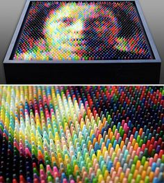 Unique art created with crayons by Christian Faur.