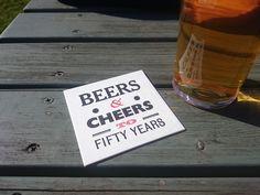 Beer mat coaster birthday invitations.