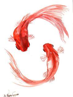 Goldfish, Original watercolor painting, 12 X 9 in, koi fish, two goldfish