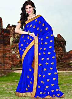 Item :#3704 Shop this product from here.. http://www.silkmuseumsurat.in/blue-chiffon-saree?filter_name=3704   Color	 : Blue Fabric	 : Faux Chiffon Occasion	 : Festival, Party Style	 : Contemporary Work	 : Embroidered