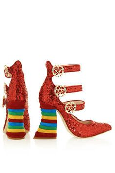 **Red Sequin Rainbow Heels by Meadham Kirchhoff