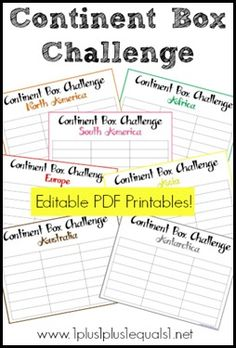 Continent Box Challenge Printables {editable}