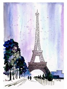 Snow Covered Paris Watercolor Painting Print by KelseyMDesigns