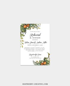Fall Rehearsal Dinner Printable Template Greenery Citrus image 5