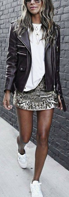 #winter #fashion / Black Bicker Jacket / White Tee / Sequins Skirt / White Sneakers https://bellanblue.com