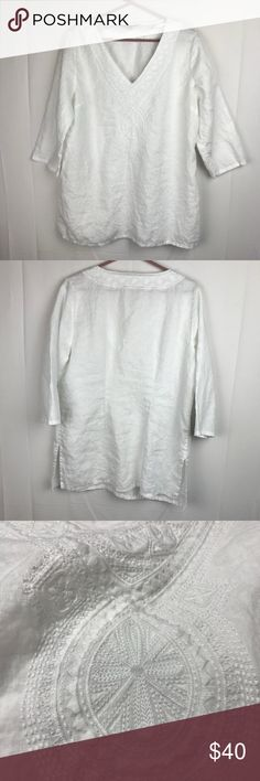 aea3bce141 I just added this listing on Poshmark  Tommy Bahama Linen Tunic Embroidered  V-Neck