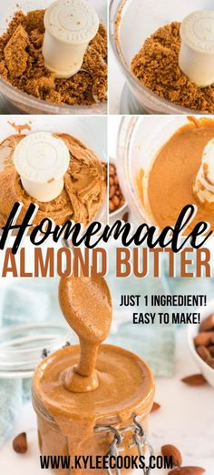 Make your own almond butter! Skip the store-bought, get out your food processor, and watch the magic! Just 1 ingredient! Almond Bread, Almond Butter, Almond Recipes, Vegan Recipes Easy, Nut Recipes, Easy Cooking, Cooking Recipes, Cooking Tips, Kitchen Recipes