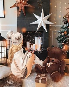 Image in Art 🖌🖍 collection by on We Heart It – christmas Fashion Emoji Wallpaper, Girl Wallpaper, Christmas Drawing, Christmas Art, Girl Cartoon, Cartoon Art, Silvester Trip, Best Friend Drawings, Lovely Girl Image