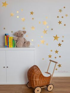Gold Stars Wall Decal Vinyl Sticker Nursery - Golden Vinyl Stars -- Kids Vinyl…