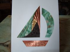 Sailboat iris folding...luv the metallic copper and mottled greens of the papers used...