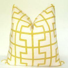 Fabric - Pillow Cover - Throw Pillow - Decorative Pillow - Schumacher - Absinthe - 17x17 in - Fretwork - Linen - Yellow. $55.00, via Etsy.