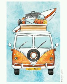 VW van - love this drawing Vans Vintage, Volkswagen, Bus Art, Retro, Foto Transfer, Art Drawings, Surfing, Doodles, Artsy