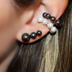Mix de brincos e piercings falsos de pérolas shell e prata 925.