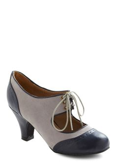 The Best of Times Heel - Grey, Blue, Mid, Lace Up, Faux Leather, Party, Work, Casual, 30s, Top Rated, 60s