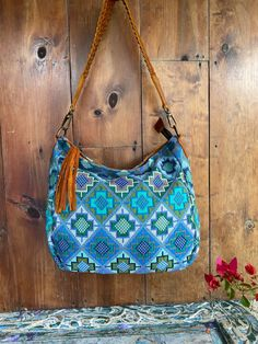 Vintage Textiles, Textile Art, Turquoise, Shoulder Bag, Boho, Green Turquoise, Shoulder Bags, Bohemian