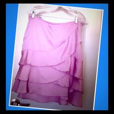 Lavender skirt This skirt is so pretty! Size 12. New York & Company. The only thing wrong is the thread you use that little hook with thats above the zipper is not intact. See pic. Zipper is fine. New York & Company Skirts A-Line or Full