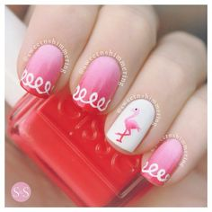 Instagram media sweetnshimmering - flamingo #nail #nails #nailart