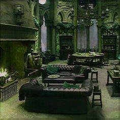 Different angle, Slytherin Common Room Slytherin Harry Potter, Slytherin House, Slytherin Pride, Harry Potter Houses, Harry Potter World, Hufflepuff Common Room, Harry James Potter, Harry Potter Decor, Draco Malfoy Aesthetic