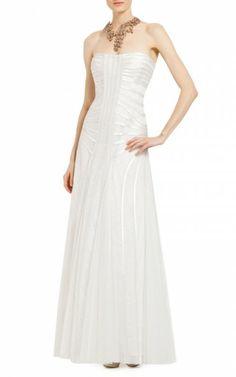 Bcbg White Magnolia Strapless Evening GownOutlet