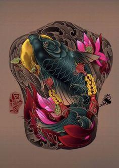 Koi Tattoo Sleeve, Koi Fish Tattoo, Back Tattoo, Bio Organic Tattoo, Colorful Sleeve Tattoos, Koi Tattoo Design, Foo Dog Tattoo, Sak Yant Tattoo, Military Drawings