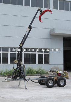 Dk like 1500kgs 4X4/4WD atv/quad/utv towable timber trailer/grapple trailer with Hydraulic crane $3000~$5000